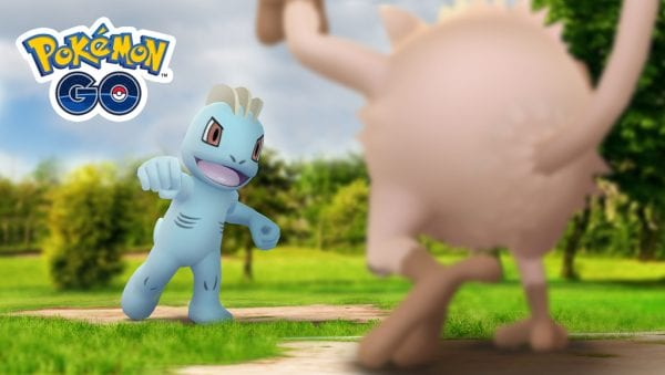 Pokémon GO Machop fighting against a Mankey
