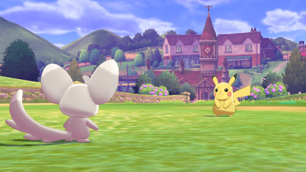 A Minccino fighting against a Pikachu.