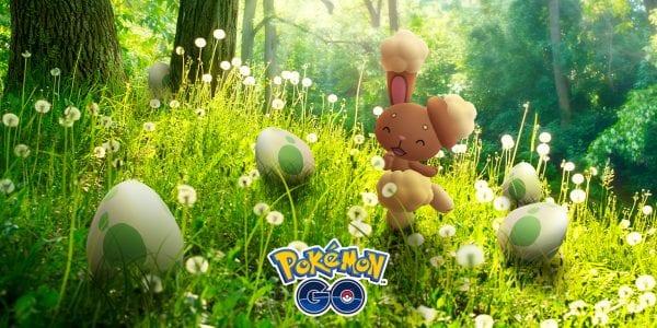 Buneary in a field of eggs in Pokémon GO