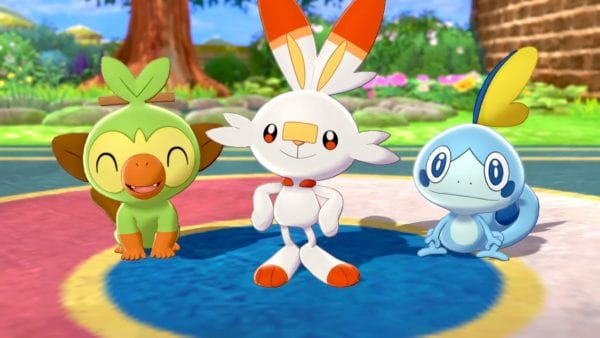 The Galar starter Pokémon: Grookey, the Grass-type Monkey; Scorbunny, the Fire-type Rabbit; and Sobble, the Water-type Lizard