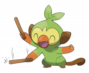 Grookey waving around the stick that it usually keeps near its head