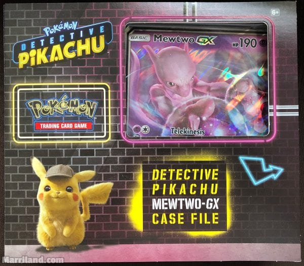 Detective Pikachu Mewtwo-GX Case File with a jumbo Mewtwo-GX card