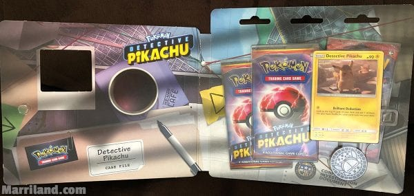 Flipped open look at the Detective Pikachu Case File