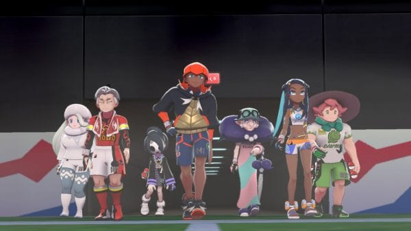 Seven of the Gym Leaders emerging into the Stadium in Pokémon Shield