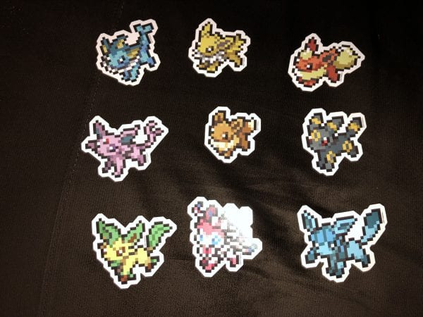 Set of 9 Eeveelution pixel stickers!