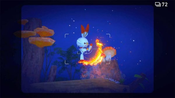 A picture of a Scorbunny kicking fire