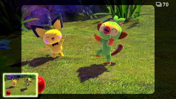 A picture of Pichu and Grookey dancing