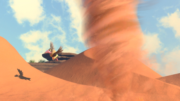 A picture of a Mandibuzz flying in a desert with a sand cyclone
