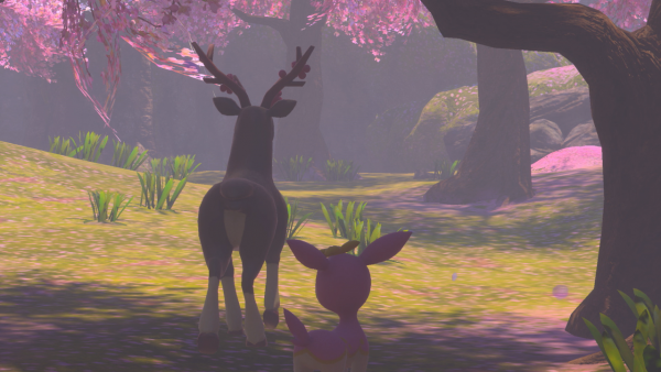 A picture of a Sawsbuck and Deerling walking under a cherry blossom tree