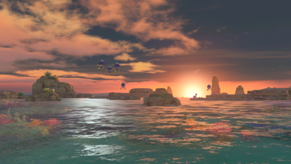 A picture of a sunset beach area