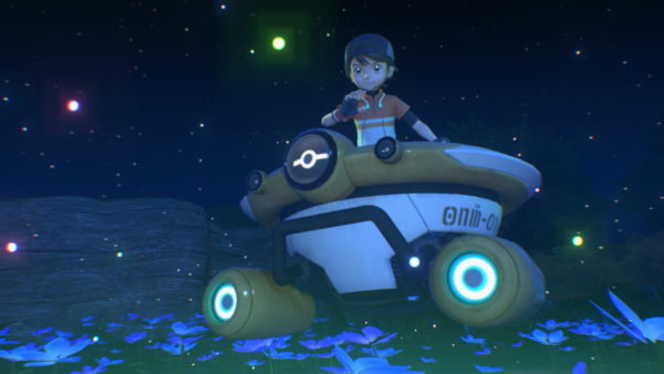 A picture of the main player character at night in the NEO-ONE