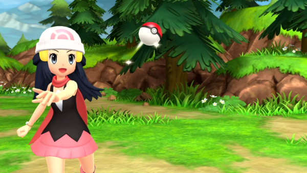 Dawn throwing a Poké Ball