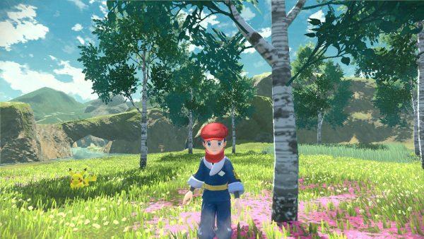 Player next to a birch tree