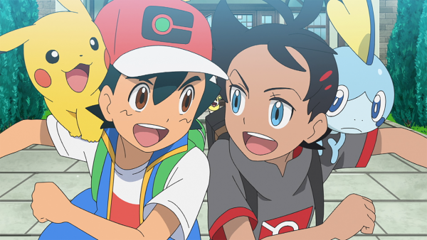 Ash Ketchum and Goh from the Pokémon anime with their Pikachu and Sobble on their shoulders