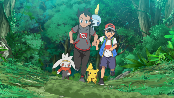 Goh and Ash running through a forest with Raboot, Pikachu, and Sobble