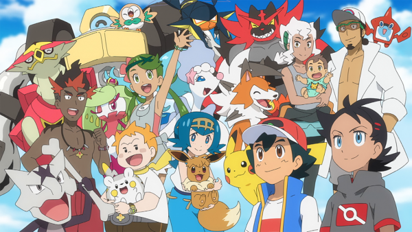 Ash and Goh along with Ash's friends from the Alola region