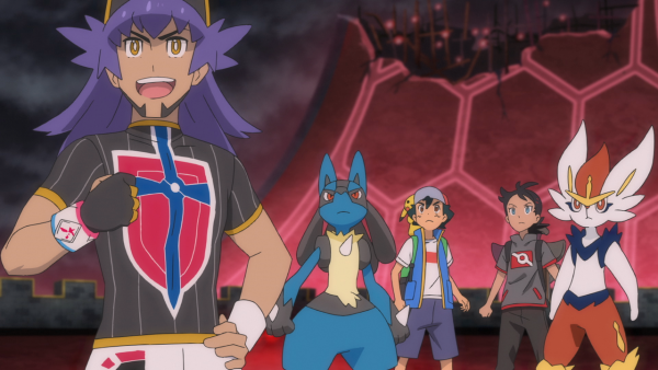 Ash and Goh with the Champion Leon, along with a Lucario and Cinderace