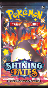 Booster pack from Shining Fates with Shiny Charizard Gigantamax