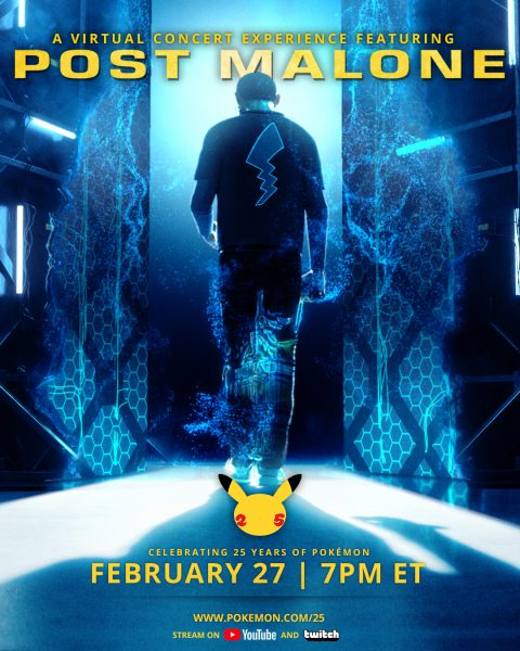Poster of Post Malone with a Pikachu tail icon on his back and the caption A Virtual Concert Experience Featuring Post Malone