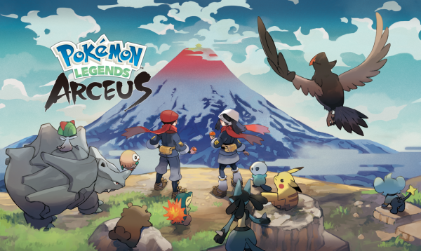 Promotional art for Pokémon Legends: Arceus with male and female heroes looking at Mt. Coronet with Rhyhorn, Ralts, Rowlet, Cyndaquil, Oshawott, Pikachu, Shinx, and more