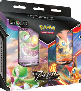 Two-pack of V Battle Decks featuring Gardevoir V and Victini V on the packaging.