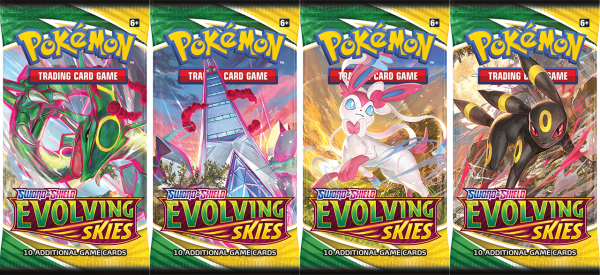 All four booster packs from Evolving Skies, featuring Rayquaza, Duraludon, Sylveon, and Umbreon