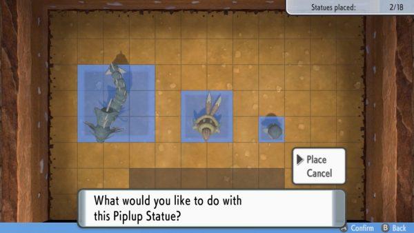 Adjusting statues in the Secret Base