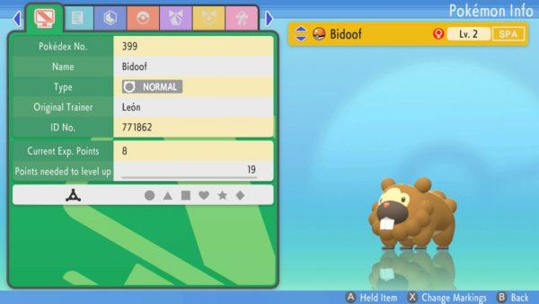 Bidoof's status screen