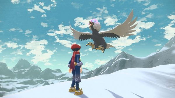 A flying Hisuian Braviary near the player