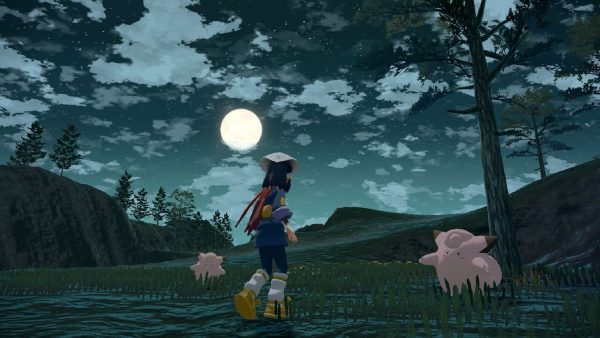 A nighttime scene with Clefairy and a moon