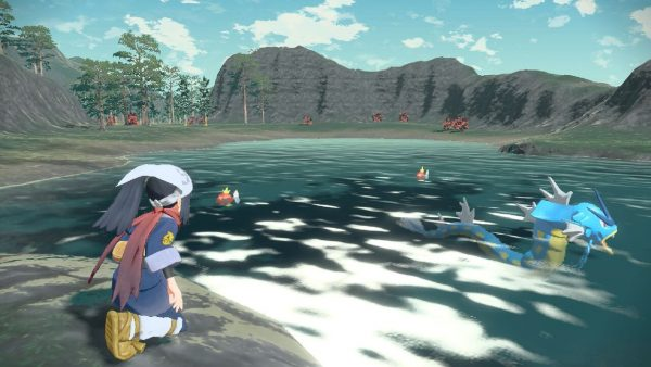 The player looking at a Gyarados in the water