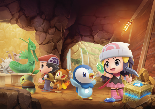Lucas, Dawn, Piplup and Chimchar underground