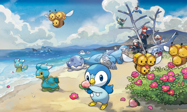 A nice beach scene with Piplup, Shellos, Spheal, and a few other Pokémon