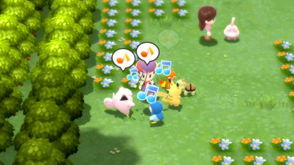 In Amity Square with Clefairy, Piplup, Turtwig, Pikachu, and Chimchar