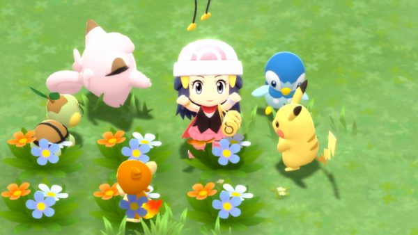 Female player with Drifloon, Clefairy, Piplup, Pikachu, Turtwig and Chimchar