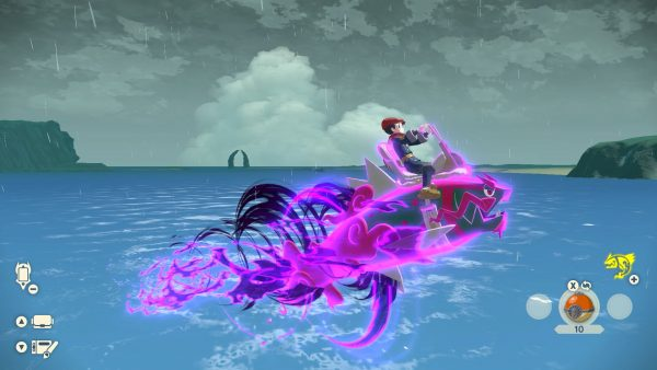 Basculegion glowing purple and jumping out of the water