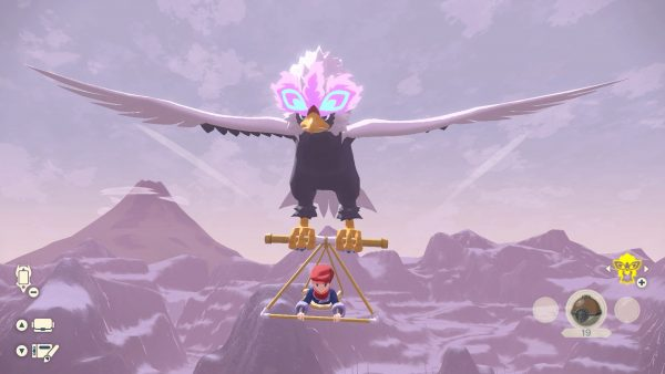 Player hang-gliding with a Hisuian Braviary