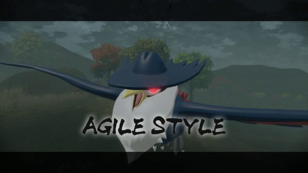 Honchkrow with red eyes and the words AGILE STYLE on screen
