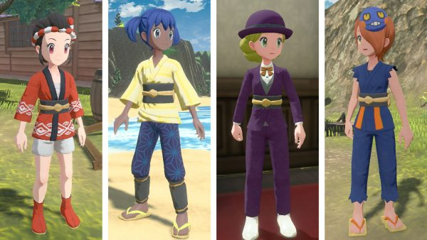 Four different clothing options for the female character