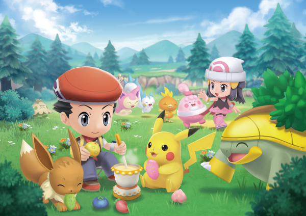 Special artwork of Amity Square with several cute Pokémon in it