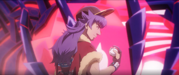 Leon looking at a Poké Ball with Eternatus in the background