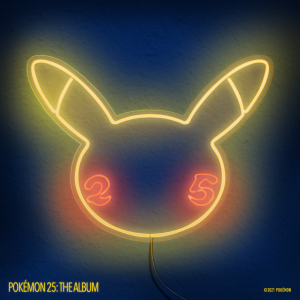 Neon lights in the shape of a Pikachu head with 2 and 5 in red on its cheeks