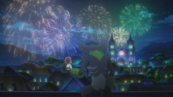 Koko and Dada looking out at fireworks over a city