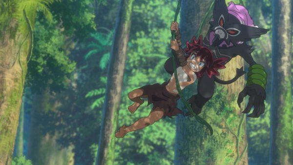 Koko and Dada swinging on a vine
