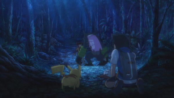 Ash and Pikachu looking at Koko and Dada
