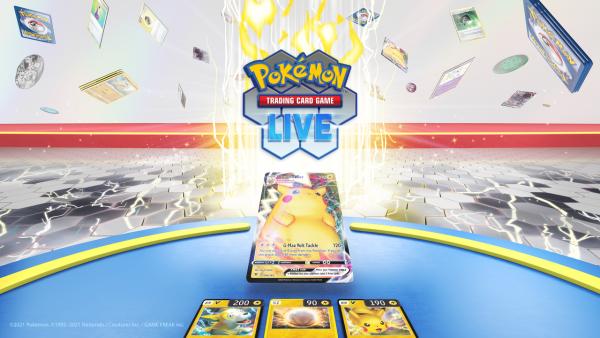 Pokémon Trading Card Game Live Key Art with a Pikachu VMAX shown