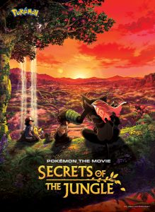Pokémon the Movie Secrets of the Jungle Artwork with Zarude and Koko, along with Ash and Pikachu with a sunset