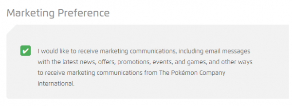 The Marketing Preference section from the Pokémon website's Edit Profile page