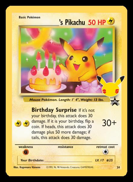 Birthday Pikachu Card with Stamp