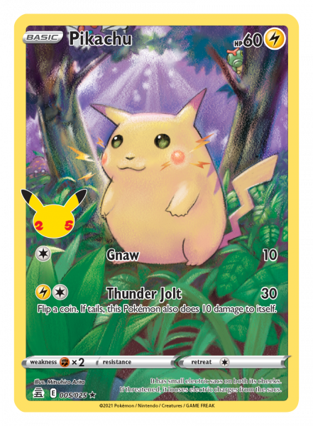 Celebrations Pikachu card resembling Base Set Pikachu